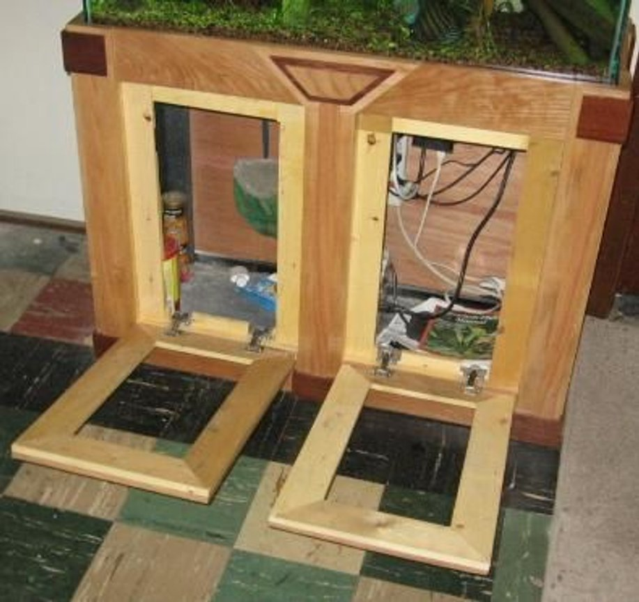 fish tank picture - Stand doors open downward and canopy doors open upward